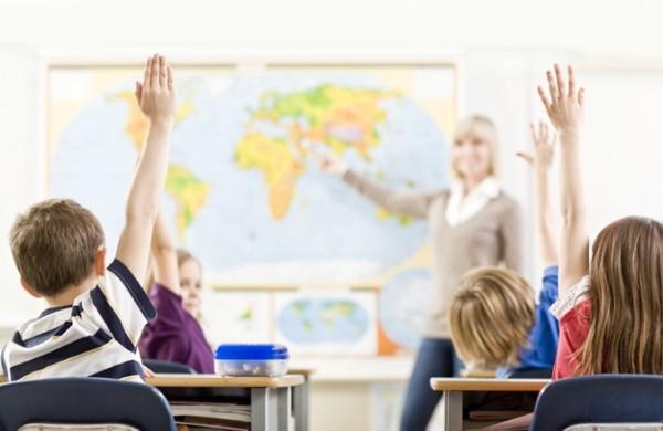 School Class hands up