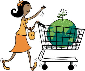 Happy woman shopping with a happy planet
