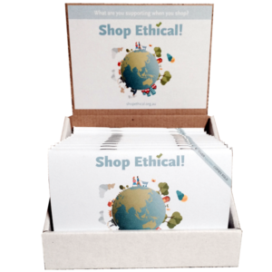 Shop Ethical with counter stand