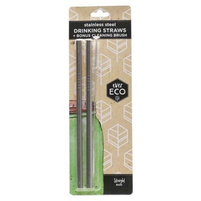 Stainless steel drinking straws x2 (straight)